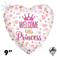 09 Inch Heart Glitter Baby Princess Foil Balloon Betallic 1ct