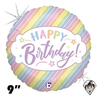 09 Inch Round Pastel Birthday Foil Balloon Betallic 1ct
