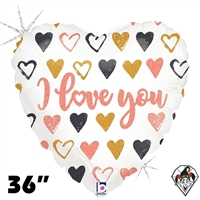 36 Inch Heart Rose Gold Hearts I Love You Foil Balloon Betallic 1ct