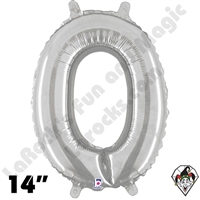 Betallatex 14 Inch Number 0 Silver Foil Megaloon Balloon 1ct