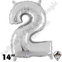 Betallic 14 Inch Number 2 Silver Foil Megaloon Balloon 1ct