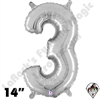 Betallatex 14 Inch Number 3 Silver Foil Megaloon Balloon 1ct
