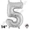 Betallatex 14 Inch Number 5 Silver Foil Megaloon Balloon 1ct