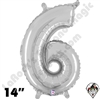 Betallatex 14 Inch Number 6 Silver Foil Megaloon Balloon 1ct