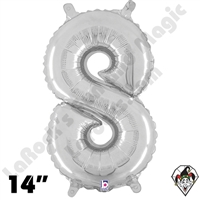 Betallatex 14 Inch Number 8 Silver Foil Megaloon Balloon 1ct