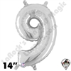 Betallatex 14 Inch Number 9 Silver Foil Megaloon Balloon 1ct