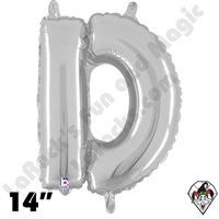 Betallatex 14 Inch Letter D Silver Foil Megaloon Balloon 1ct