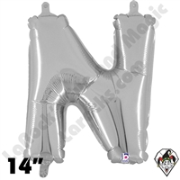 Betallatex 14 Inch Letter N Silver Foil Megaloon Balloon 1ct