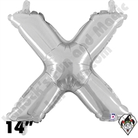 Betallatex 14 Inch Letter X Silver Foil Megaloon Balloon 1ct