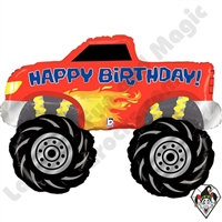 40 Inch Shape Monster Truck Birthday Foil Balloon Betallic 1ct