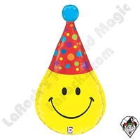 Betallic 33 Inch Dimensional Smiley Party Hat Foil Balloon 1ct