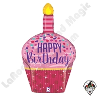 Betallic 35 Inch Dimensional Birthday Sparkles Cupcake Balloon 1ct