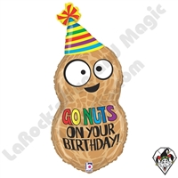 32 Inch Shape Go Nuts On Your Birthday Foil Balloon Betallic 1ct