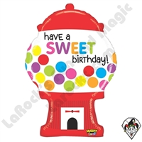 31 Inch Shape Mighty Bright Sweet Gumball Birthday Non-Foil Balloon Betallic 1ct
