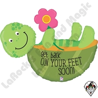 40 Inch Shape Back On Your Feet Turtle Foil Balloon Betallic 1ct