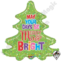 30 Inch Shape Mighty Bright Christmas Tree Non-Foil Balloon Betallatex 1ct