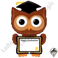 46 Inch Shape ReMARKables Owl Grad Balloon Betallic 1ct