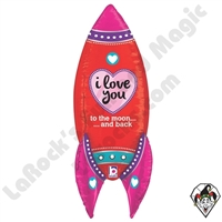 36 Inch Dimensional Rocket Love Foil Balloon Betallic 1ct