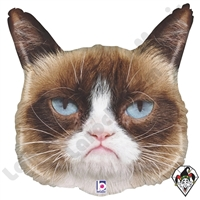 28 Inch Shape Grumpy Cat Foil Balloon Betallic 1ct