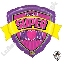 27 Inch Shape Mighty Bright Super Mom Non-Foil Balloon Betallic 1ct