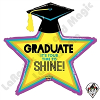 38 Inch Shape Mighty Bright Star Grad Non-Foil Balloon Betallatex 1ct