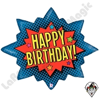 32 Inch Shape Superhero Birthday Burst Foil Balloon Betallic 1ct