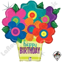 30 Inch Shape Birthday Button Flowers Foil Balloon Betallic 1ct