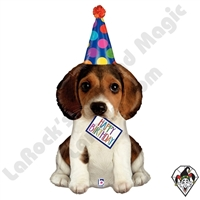 41 Inch Shape Birthday Puppy Foil Balloon Betallic 1ct
