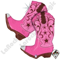 36 Inch Shape Pink Dancing Boots Foil Balloon Betallic 1ct