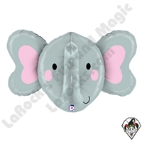 34 Inch Dimensional Elephant Foil Balloon Betallic 1ct
