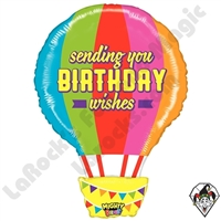 30 Inch Shape Mighty Bright Birthday Hot Air Balloon Non-Foil Balloon Betallic 1ct