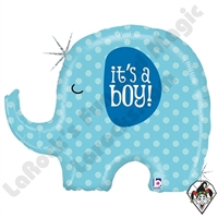 32 Inch Shape It's A Boy Elephant Foil Balloon Betallic 1ct