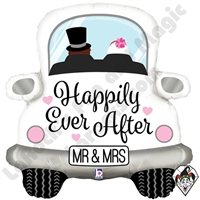 31 Inch Shape Happily Ever After Car Foil Balloon Betallic 1ct