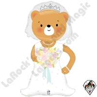 43 Inch Shape Linky Bride Bear Foil Balloon Betallic 1ct