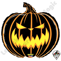 28 Inch Shape Mighty Bright Scary Pumpkin Foil Balloon Betallatex 1ct