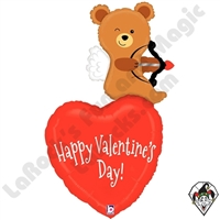 44 Inch Shape Cupid Bear Valentine Foil Balloon Betallic 1ct