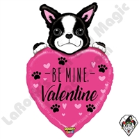 37 Inch Shape Mighty Bright Be Mine Valentine Dog Non-Foil Balloon Betallic 1ct