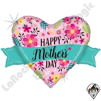 32 Inch Shape Glittering Floral Mother's Day Banner Foil Balloon Betallic 1ct