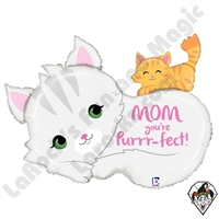33 Inch Shape Purrr-fect Mom Foil Balloon Betallic 1ct