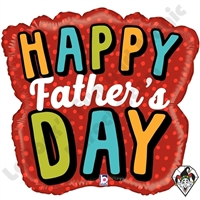 28 Inch Shape Bold Father's Day Word Foil Balloon Betallic 1ct