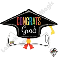 36 Inch Shape Mighty Bright Congrats Grad Diploma Non-Foil Balloon Betallic 1ct