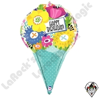 31 Inch Dimensional Birthday Bouquet Foil Balloon Betallic 1ct