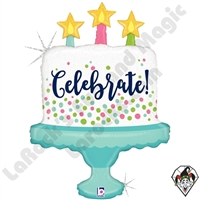 33 Inch Shape Celebrate! Cake Foil Balloon Betallic 1ct