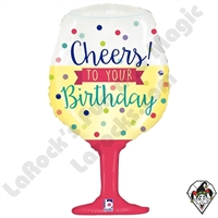 34 Inch Shape Cheers To Your Birthday Foil Balloon Betallic 1ct