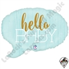 24 Inch Shape Hello Baby Blue Foil Balloon Betallatex 1ct