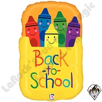 28 Inch Shape Back To School Crayon Box Foil Balloon Betallatex 1ct