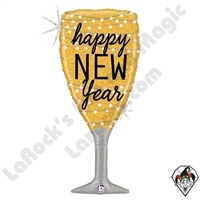 37 Inch Shape New Year Champagne Foil Balloon Betallic 1ct