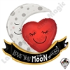 42 Inch Shape Vintage Moon & Back Love Foil Balloon Betallic 1ct