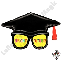 39 Inch Shape Mighty Bright Grad Glasses Non-Foil Balloon Betallic 1ct