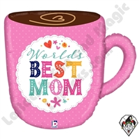 28 Inch Shape Best Mom Mug Foil Balloon Betallic 1ct